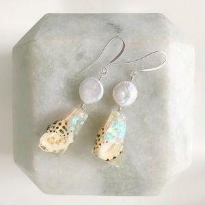 Pearl & Hawaiian Shell Faux Opal Earrings
